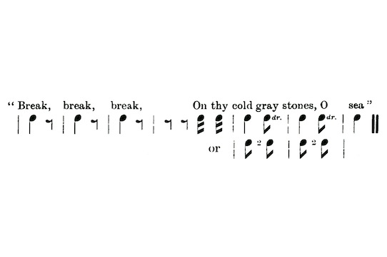 thomson jpg figure 2 musical notation for break break break lines 1 2 fromwilliam thomson the basis of english rhythm 1904 54