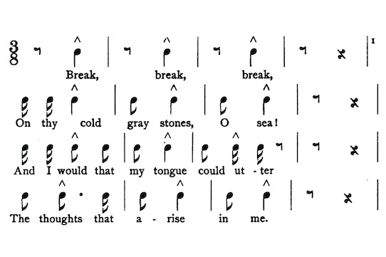 lanierc jpg  figure 5 alternative musical notation for break break break stanza 1 from sidney lanier the science of english verse 1880 139
